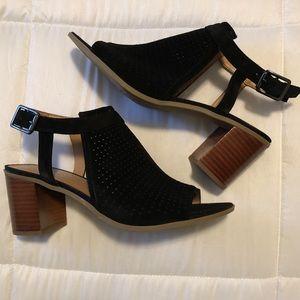 Franco Sarto Black Suede Peep Toe Heels